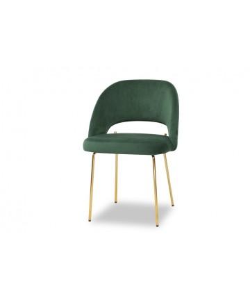 Welurowe krzesło ze złotymi nogami