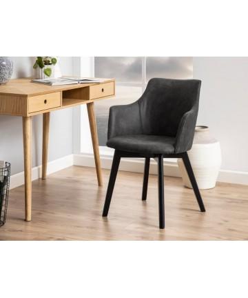 Krzesło Berta antracytowe z czarnymi nogami