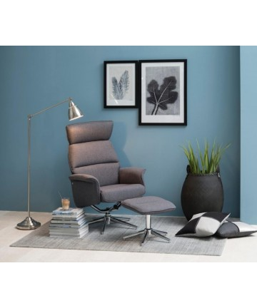 Fotel Sleep Set Szary tapicerowany fotel z podnóżkiem